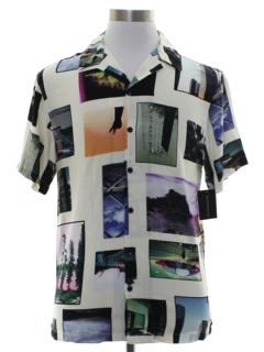 1980's Mens Totally 80s Photo Print Club Style Sport Shirt