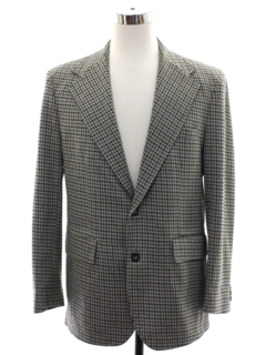 1970's Mens Houndstooth Plaid Disco Blazer Sport Coat Jacket
