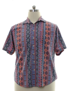 1980's Mens Totally 80s Style Geometric Print Shirt