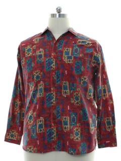 1980's Mens Totally 80s Style Geometric Print Sport Shirt