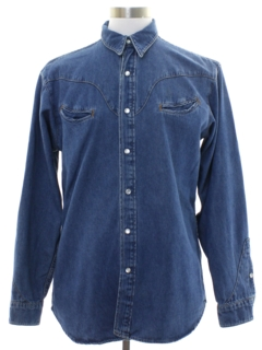 1980's Mens Denim Rodeo Style Western Shirt