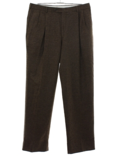 1980's Mens Totally 80s Houndstooth Pleated Slacks Pants