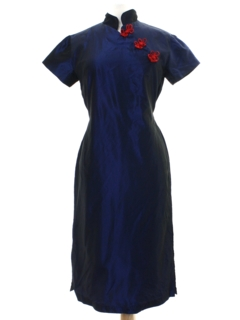 1970's Womens Mod Sheath Style Cheongsam Dress