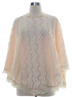 1960's Womens Lace Cocktail Poncho Style Cape