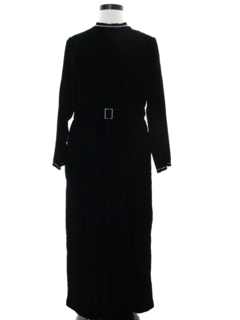 1970's Womens Mod Velvet Cocktail Maxi Dress