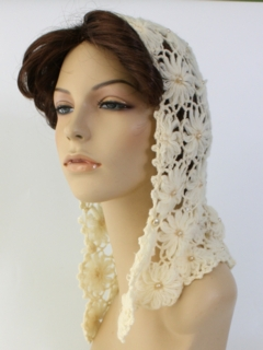 1960's Womens Accessories - Crocheted Scarf Hat