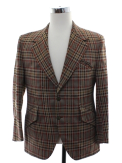 1970's Mens Plaid Western Style Disco Blazer Sport Coat Jacket