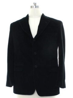 1980's Mens Black Corduory Blazer Sport Coat Jacket