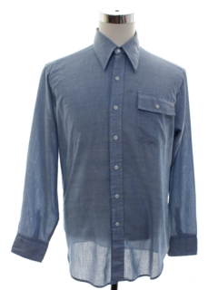 1970's Mens Grunge Chambray Work Shirt