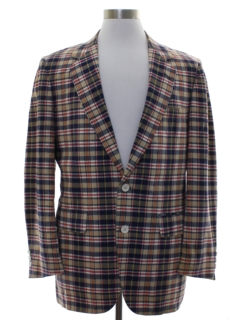 1970's Mens Plaid Cotton Blazer Sport Coat Jacket