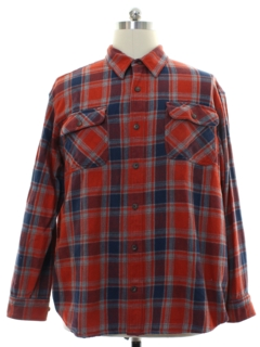 1990's Mens Plaid Cotton Sport Shirt