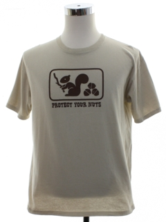 1990's Mens Tacky Tasteless Protect Your Nuts  T-Shirt