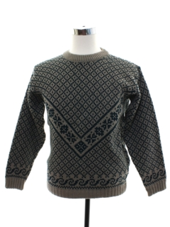 1990's Mens Nordic Style Wool Sweater