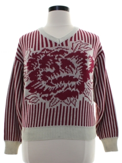 1980's Womens Totally 80s Intarsia Knit Sweater