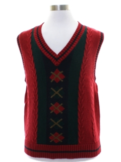 1980's Mens Totally 80s Bugle Boy Argyle Sweater Vest