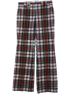 1970's Mens Plaid Flared Golf Pants