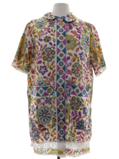 1960's Womens Silk Lounge Mini Shift Dress