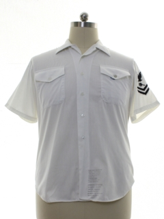 1980's Mens White US Navy Military Shirt