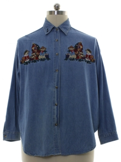 1990's Mens Denim Christmas Shirt