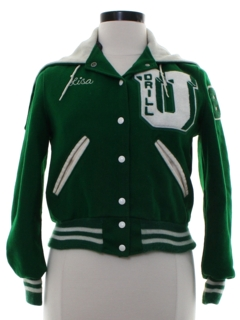 1970's Womens Inappropriate Lisa Drill-U Letterman Varsity Cheerleader Jacket