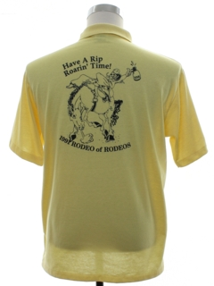1990's Mens Rodeo Print Polo Shirt
