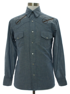 1960's Mens Chambray Hippie Western Shirt