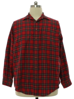 1980's Mens Viyella Plaid Flannel Sport Shirt