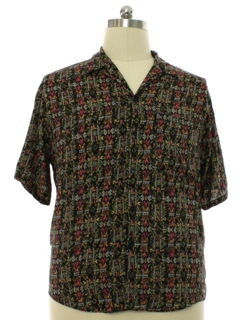 1980's Mens Totally 80s Rayon Graphic Print Sport Shirt