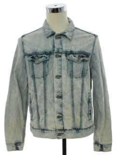 1980's Mens Totally 80s Acid Washed Denim Trucker Jacket