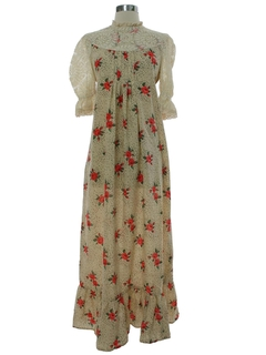 1960's Womens Mod Hippie Prairie Maxi Dress