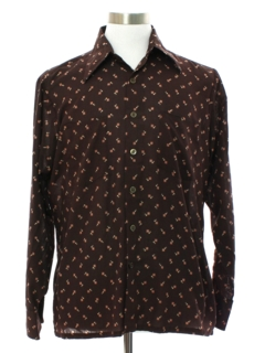 1970's Mens Subtle Print Cotton Blend DIsco Style Mod Sport Shirt