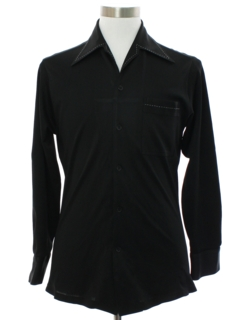 1970's Mens Solid Black Saturday Night Fever Style Disco Shirt