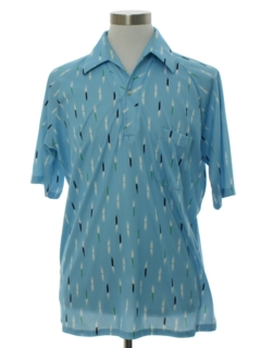 1970's Mens Designer Lily Dache Resort Wear Style Print Disco Shirt