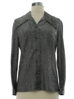 1970's Womens Solid Disco Style Cocktail Shirt