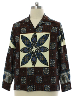 1970's Mens Hippie Disco Print Shirt