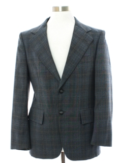 1970's Mens Plaid Wool Blend Disco Blazer Style Sport Coat Jacket