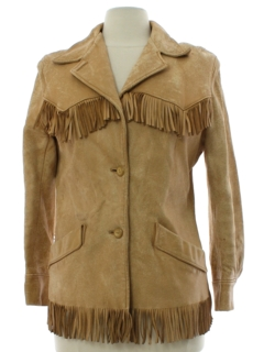 1950's Womens Fringed Distressed Grunge Rockabilly Leather Jacket