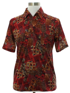 1970's Mens Lilly Dache Designer Resort Wear Style Print Disco Shirt