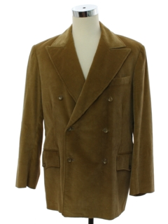 1970's Mens Double Breasted Corduory Blazer Sport Coat Jacket