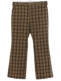 1970's Mens Plaid Flared Disco Pants