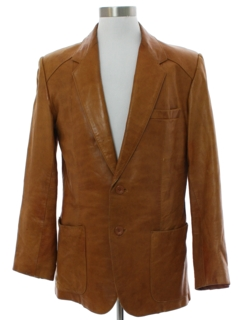 1970's Mens Cliff Booth Style Leather Blazer Sport Coat Jacket