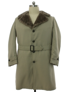 1970's Mens Mod Car Coat Style Overcoat Trenchcoat Jacket