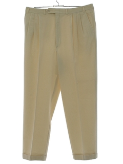 1980's Mens Totally 80s Wool Gabardine Pleated Slacks Pants