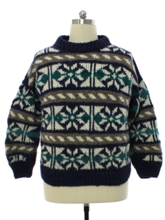 1980's Mens Totally 80s Ecuadorian Heavy Wool Knit Sweater