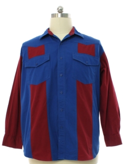1980's Mens Totally 80s Color Block Western Shirt