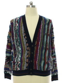 1990's Mens Coogi Inspired Cotton Traders Cosby Style Cardigan Sweater