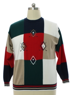 1980's Mens Cotton Traders Knit Golf Sweater Style Shirt