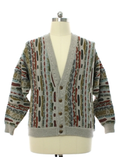 1980's Mens Wool Totally 80s Coogi Inspired Cosby Style Cardigan Sweater