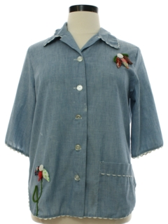 1970's Womens Appliqued Chambray Hippie Shirt