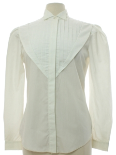 1980's Womens H Bar C Prairie Style Tuxedo Pleated Shirt